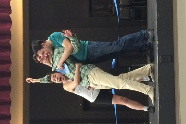 "Brenda Dang and Blake London hold Matt Oviatt during a dress rehearsal of ""The Complete Works of William Shakespeare (abridged)"". The play runs through all of Shakespeare's plays in a little over 90 minutes."