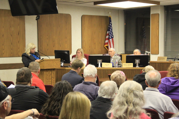Christina Edwards, a Fraternal Order of the Eagles member, speaks at the Murray council meeting Feb. 7 regarding eminent domain issues, in which the city is negotiating to purchase land owned by FOE. (Mandy Ditto/City Journals)