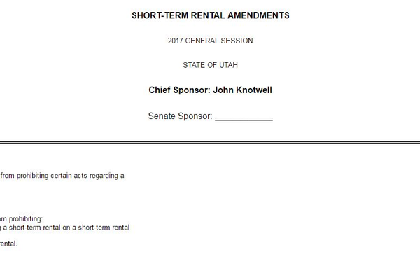 The Short-Term Rental bill proposed by Rep. John Knotwell could have great impacts directly on Cottonwood Heights. (Utah Legislature)