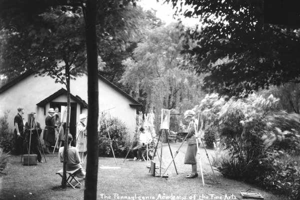 During the PAFA days, acclaimed artist Daniel Garber, in his signature brimmed hat, taught in front of the Crystal Diamond Springhouse.