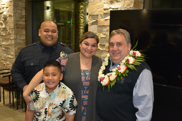 Lautaha is the newest officer of the Cottonwood Heights Police Department. He was introduced with his family to the council by Chief Russo. (Dan Metcalf/Cottonwood Heights)