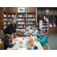 Jan Nocita with students in the Shaler North Hills library