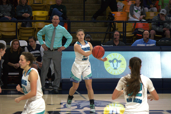 Senior Becca Curran passes the ball to Trista Vawdrey in the 3A state championship game against Richfield. Juan Diego prevailed 34-32 to claim its second title in three years. (Juan Diego girls basketball)