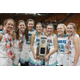 Juan Diego seniors hold the 3A state championship trophy. Four of the seniors have played with each other all their teenage years. (Juan Diego Basketball)