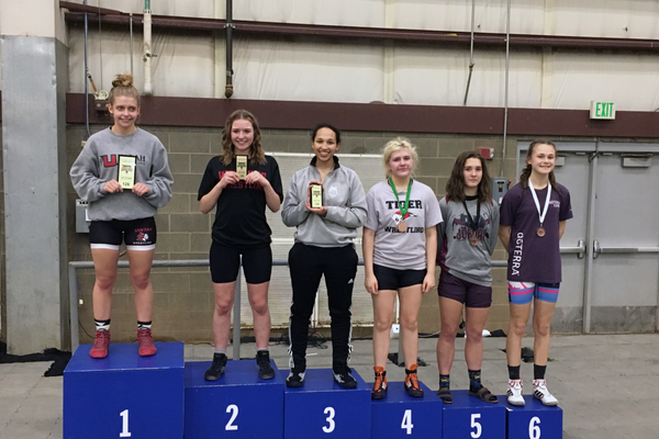 Sariah Gist at 126 pounds finished third at the all-girls state tournament. (Gentry Gasser/Hillcrest High wrestling)