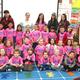 Mrs Sheffield's kindergarten class wears matching pink shirts to show support for classmates. (Jet Burnham/City Journals)
