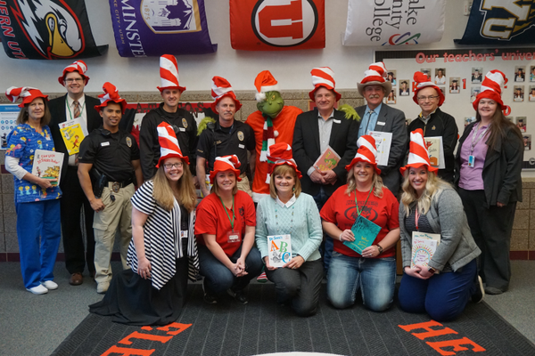 Leaders from the community volunteered to read to students for Dr. Seuss's birthday. (Janiece Atwood/Heartland PTA)