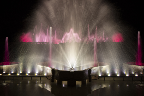 During a test of the new fountains, spectacular effects were created. (Courtesy photo)