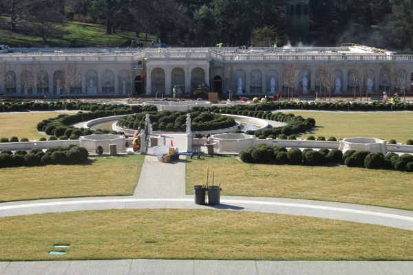 Workers were putting finishing touches on the new Fountain Garden during a tour on March 29.
