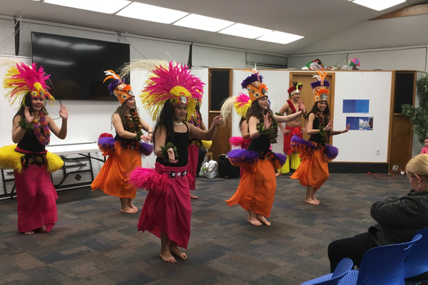 Dancers from Happy Hula perform at the Tyler Library. (Travis Barton/City Journals)