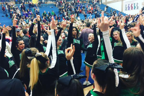 Hillcrest High School cheer squad celebrates after winning the state title. (Candice Simmons/Hillcrest Cheer)