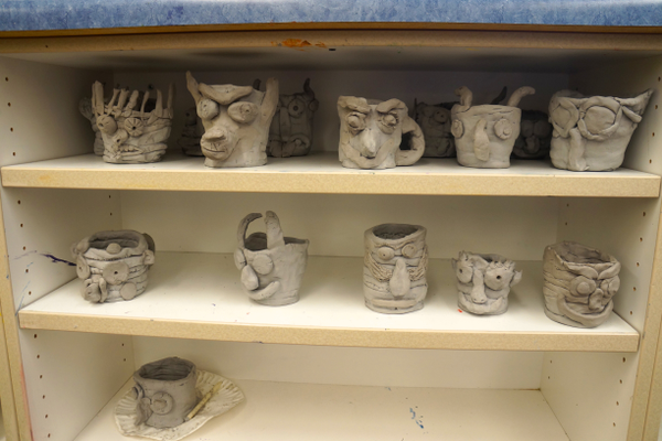 Face jugs created by Nibley Park K-8 fifth-grade students. (Aspen Perry/City Journals).
