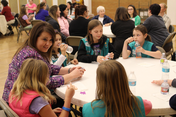South Salt Lake Mayor Cherie Wood speaks with Girl Scouts during a roundtable discussion at the Columbus Center. She said she hopes the girls will get involved in their community and let their voices be heard. (Travis Barton/City Journals)