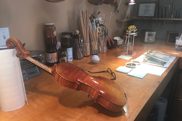 Lucas's garage work station where he makes his string instruments. (Natalie Mollinet\City Journals).