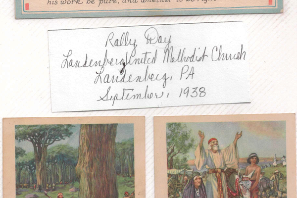 Lifelong Landenberg resident and UMC member Alma Hendrickson Rigler has created scrapbooks containing historical highlights about the church. This page from one of her books displays cards that children used to receive at Sunday School.