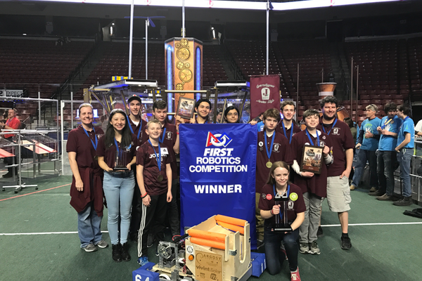 Jordan High School's robotics team won the overall championship of this year's FIRST Utah regional robotics competition and was expected to participate in the world championships in April.  (Jordan High School)