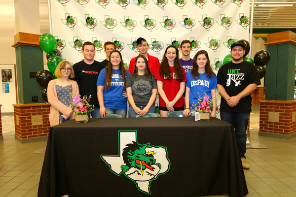 Carissa Aglietti, Jack DeBusk, Hannah Hamel, Kyle Hassien, Madeleine Louviere, Grace Magar, Gavin Mullally, Cliona Smith Jack Emery and Mathew Austin Woolsey were among 9 CISD fine arts students honored for signing their college scholarships at a special ceremony on April 28, 2017 at CSHS.