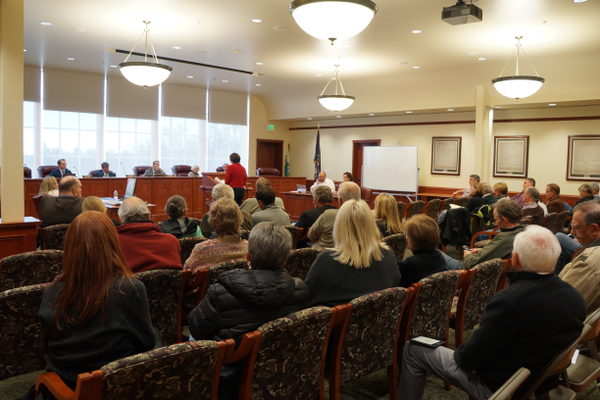 Holladay resident, Susan Basmajian, speaking to City Council about developing tree protection ordinance. (Aspen Perry/City Journals)