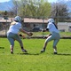 Quarterback Kammie Bilanzich[insert name] hands the ball off to Hannah Johnson [insert name] during the Angels opening game. The team plays every Saturday through May at Westmore Elementary in West Jordan. (Travis Barton/City Journals)