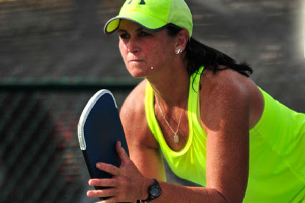 Lisa Parker prepares to receive a pickleball serve. (Lisa Parker)