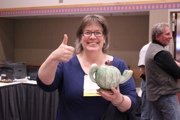 "Julia Galloway, a professional potter and juror for the competition this year, chose Brianna Lucas' ""Cactus Teapot"" as a winner. (Ellice Taylor/West Jordan Middle)"