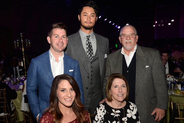 (Clockwise) EmileeMay, Pete Hodges, Rangers pitcher Yu Darvish, Nedd Ross, Frances Ross