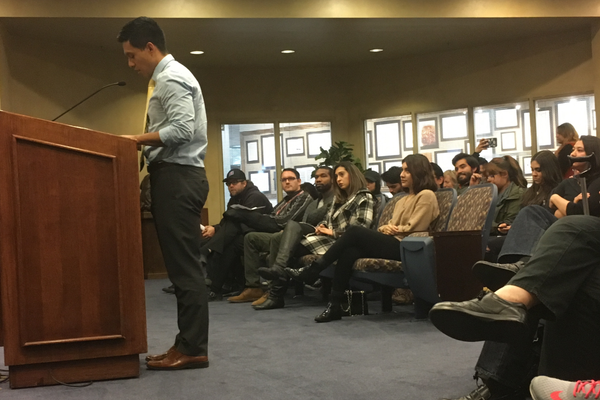 Isael Torres voices his support of adopting a resolution stating WVC will not enforce immigration laws during a city council meeting in April. (Travis Barton/City Journals)