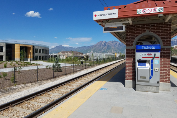 The Bingham Junction TRAX station with surrounding buildings is an example of transit-oriented development. (Ruth Hendricks/City Journals)
