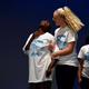 Gabby Eggli and Dorothea Bausa perform together. T-shirts were donated by Chad Donoghue of Shirts and Things. (Granite School District)