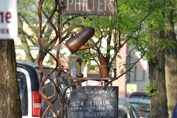 The sign for the Philter coffee shop in Kennett Square has some Sigafoos trademarks. (Photo by Entropic Remnants Photography)