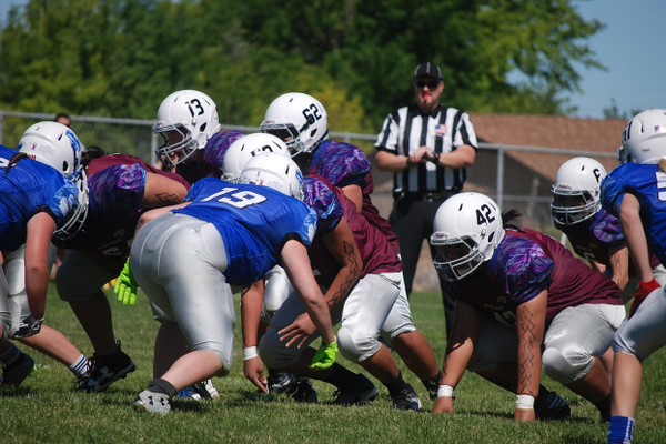 Bingham lines up to defend Herriman in the UGTFL high school championship. (Greg James/City Journals)