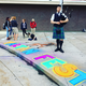 Highland art students spent their evening showing off their skills including some with chalk art. (Katie Hudson/Highland music teacher).