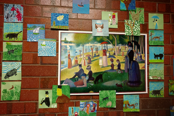 "Fifth-graders created their own pointillism pieces inspired by ""A Sunday on La Grande Jatte"" by Georges Seurat. (Jet Burnham/City Journals)"