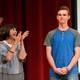 Charlie Scriver gets a standing ovation from teachers and students. (Granite School District)