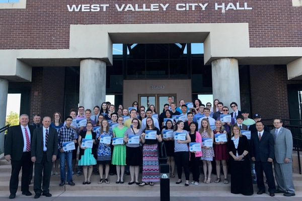 West Valley City elected officials stand with the students who were awarded the Mayor's Star of Excellence for their academic performance. (Kevin Conde/West Valley City)