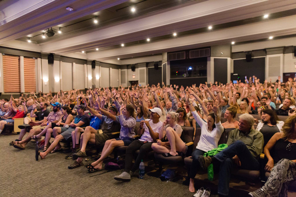 Festival goers participate in a screening question-and-answer panel. (Stuart Derman)