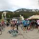 Cyclists commiserate at the finish line. (Porcupine Pub and Grill).