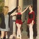 Draper teenager Annabella Oliver demonstrates to her models how to pose for a photo shoot of the dancewear line she created. (Ronda Oliver)