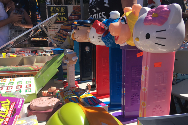 Many toys were up for sale at the Nerd Swap Meet including large PEZ dispensers. (Travis Barton/City Journals)