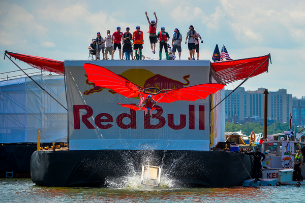 Team Flyin' Ryan competes at Red Bull Flugtag in Boston, MA in August 2016