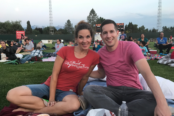 Good friends Rebekah Ellsworth and Scott Blakeslee at Movies in the Park. (Alisha Soeken)