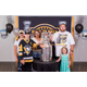 Justin Buchanan, Verizon Senior Manager of Project Management and family poses with the cup