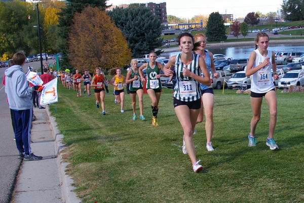 Hillcrest High's Danielle Coccimiglio, left, leads the pack during the state cross country meet in October 2016. (Julie Slama/City Journals)