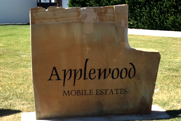 A sign marks the Applewood mobile home park. (Shirlene Stoven/ Midvale)