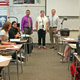 Murray High School math teacher Haley Binggeli, center, was surprised during class with the announcement that she was named Murray School District's outstanding teacher of the year. (Murray School District)