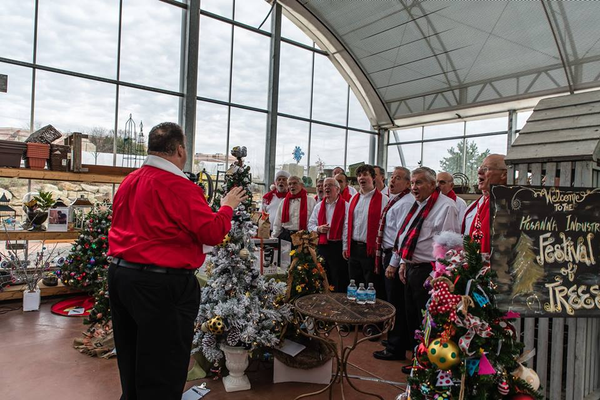Holiday singers at The Hosanna Industries Festival of the Trees, photo courtesy of Marta Greca