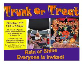 St John the Apostle United Methodist Church Trunk or Treat - start Oct 31 2017 0600PM