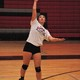 Alta senior Megumi Wilkinson serves the ball during a recent volleyball practice. Wilkinson plays the defensive libero position for the Hawks. (Ron Bevan/City Journals)