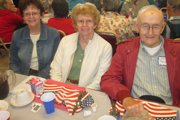 Army veteran Waldo Parker attended the breakfast with his two daughters. Parker, 91, served stateside during the closing months of World War II.