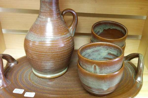 Some of the functional pottery by Susan O'Hanlon.